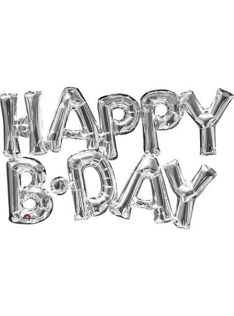 Balão Happy B-Day prateado