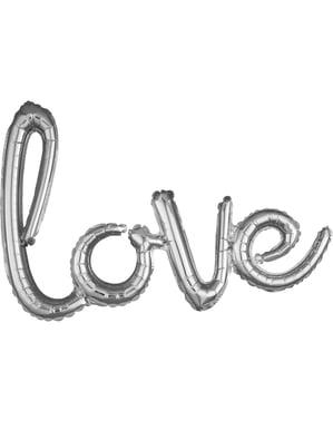 Silveren love ballon in kleine letters