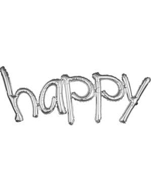 Balão happy minúsculas prateado