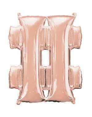 Balão hashtag ouro rosa (40 cm)