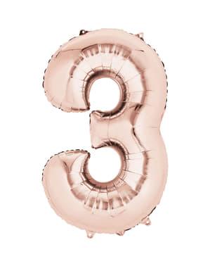 Rødguld nummer 3 ballon på 40 cm