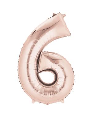 Balão número 6 ouro rosa de 40 cm