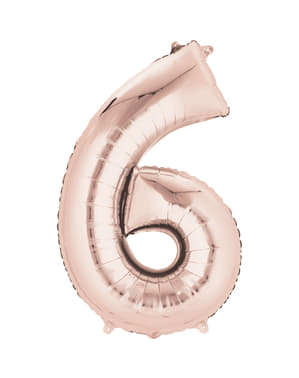 Rose gold number 6 balloon measuring 40 cm