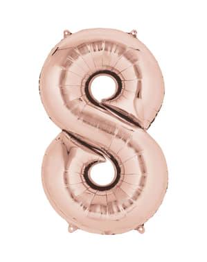 Palloncino numero 8 oro rosa di 40cm
