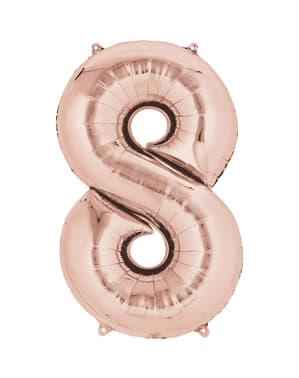 Rose gold number 8 balloon measuring 40 cm