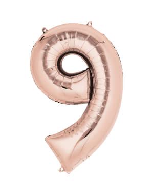 Rose gouden nummer 9 ballon van 40 cm