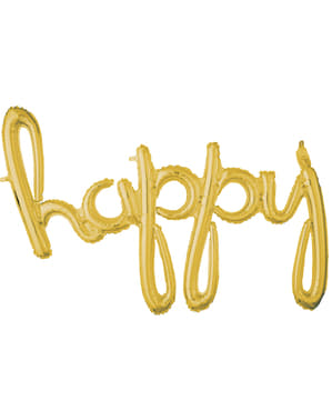 Gold happy in lowercase balloon