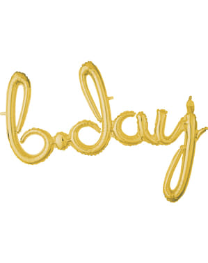 Gold Bday in lowercase balloon