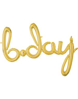 Złoty balon b-day (małe litery)