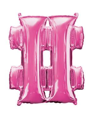 Balão hashtag cor-de-rosa (40 cm)