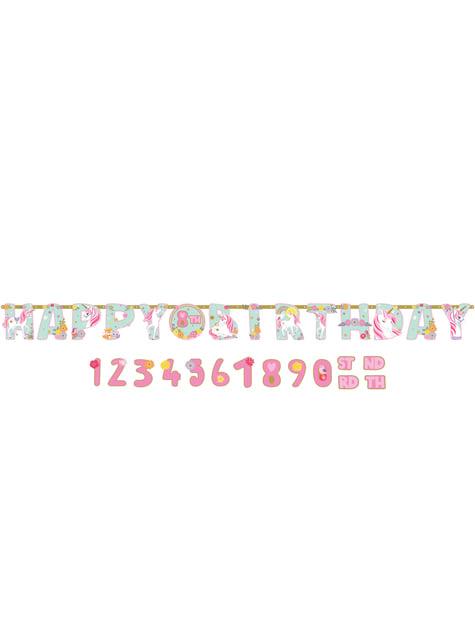 Guirnalda de Unicornio Happy Birthday personalizable de unicornio - Pretty Unicorn