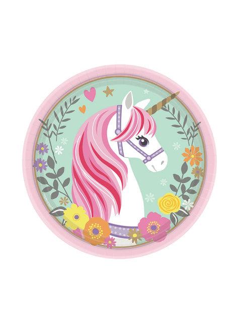 8 platos de unicornio (18cm) - Pretty Unicorn