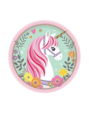 8 Magical Unicorn dessert tallerkner (18cm) - Pretty Unicorn