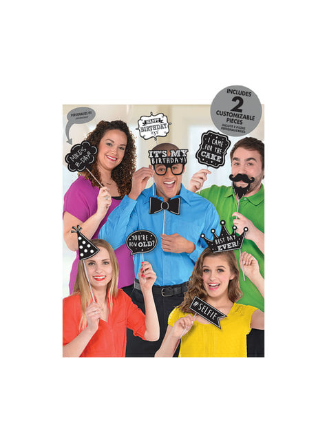 13 accessoires pour Photo booth Happy Birthday