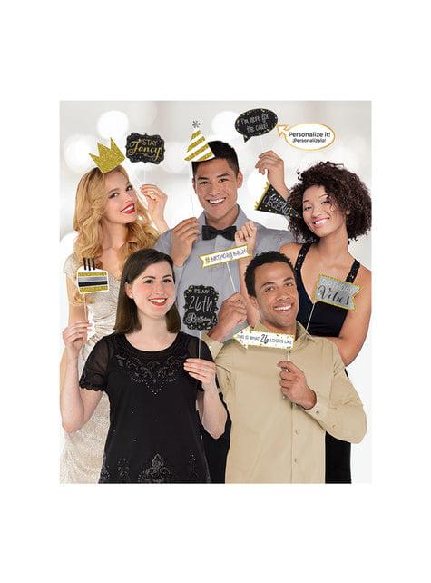 13 accessoires pour Photo booth Gold Celebration