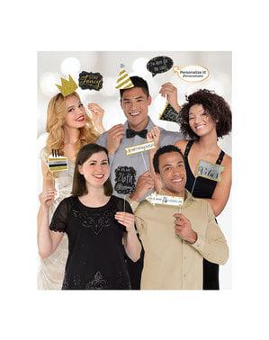 13 accesorii pentru Photobooth Gold Celebration