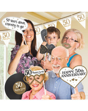 12 accessoires Photo booth Golden Anniversary