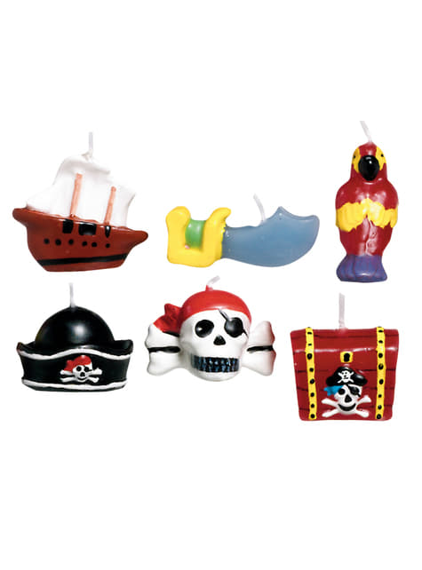 6 velas Pirate Treasure (3,2 cm)