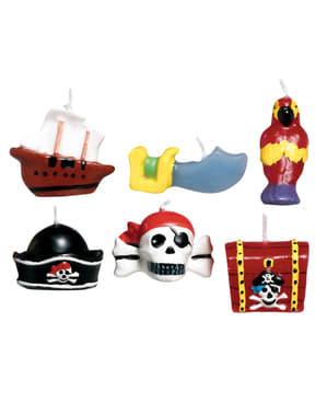 Sett med 6 Pirat Skatt stearinlys