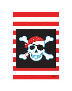 Sæt af 8 Pirat fest poser