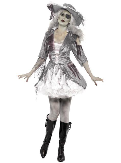 Disfarce de pirata fantasma cinzento para mulher