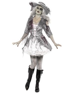 Disfraz de pirata fantasma gris para mujer