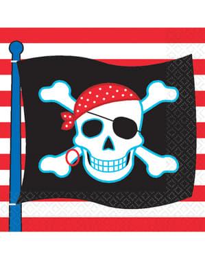 Sett med 16 Pirat Fest servietter