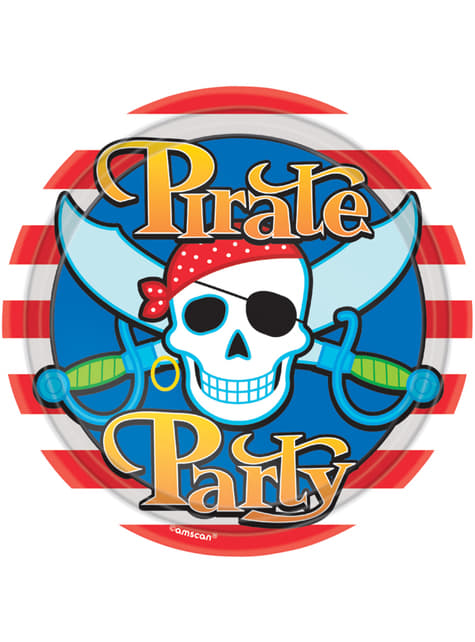 8 big Pirate Party plates (23 cm)