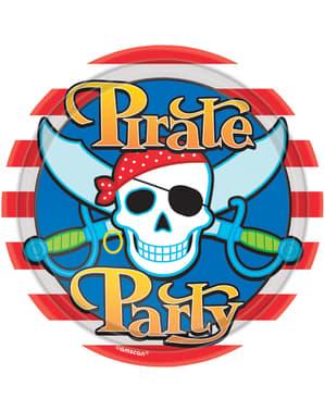 Sæt af 8 store Pirat fest tallerkner