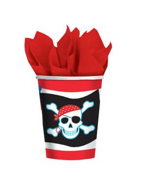 Sæt af 8 Pirat fest kopper