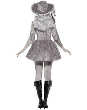 Geister-Piratin Kostüm grau für Damen