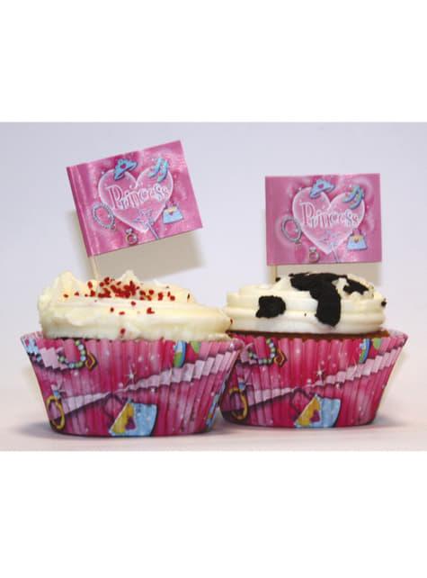Conjunto de 24 moldes cupcakes e enfeites Princess