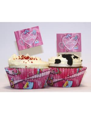 24 moldes cupcakes e enfeites Princess