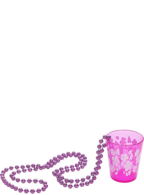 ショットグラス付きピンクネックレス