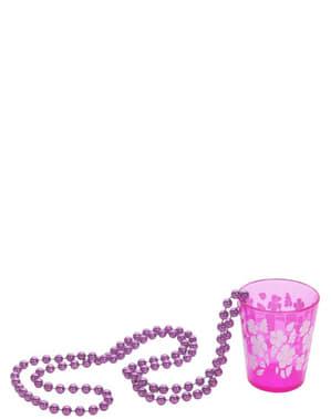 Collier avec des petits verres rose
