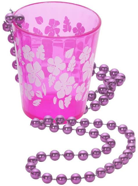 Colar com shot cor-de-rosa