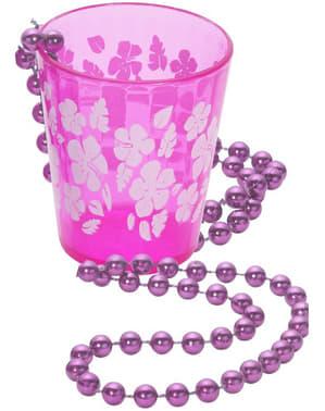 Halskæde med lyserødt shotglas
