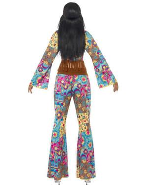Fato de flowerpower hippie para mulher