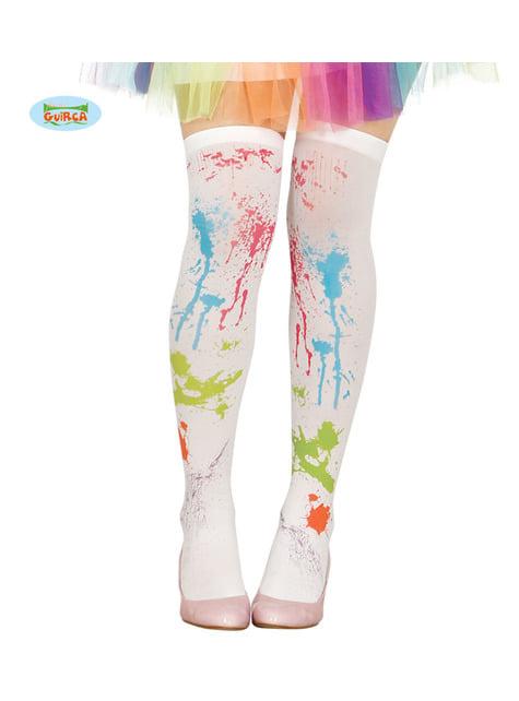 Șosete albe cu vopsea pentru femeie