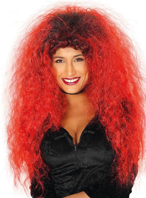 Lange rood zwarte pruik voor vrouw