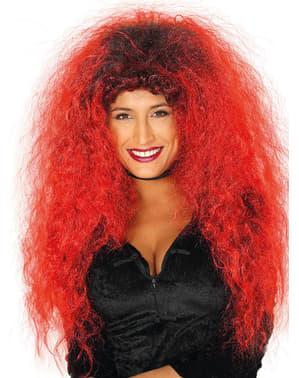 Rød og sort lang håret paryk til kvinder