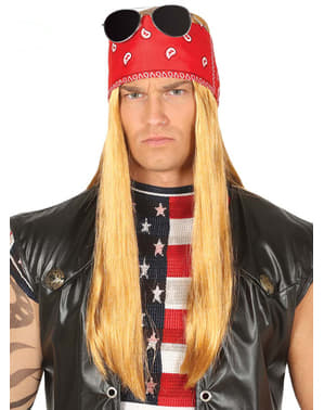 Parrucca da rockettaro Rose con foulard per uomo