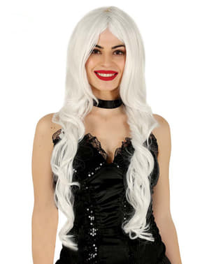 Perruque longue chevelure blanche femme