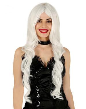 Valkoinen pitkä peruukki naisille