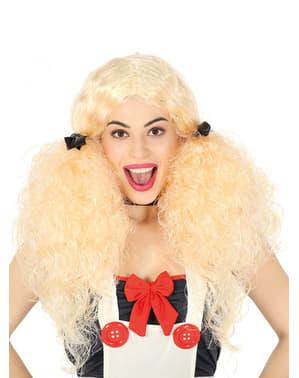 Blond dukke parykk med musefletter til dame