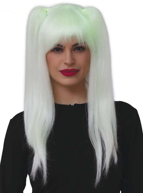 Fluorescent witch wig with pigtails for women