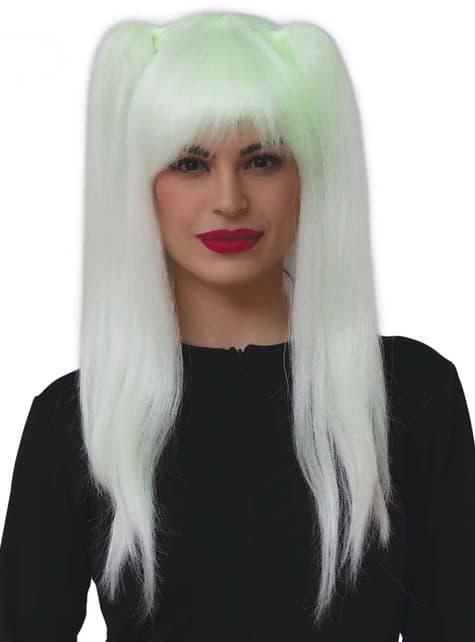 Peluca de bruja fluorescente con coletas para mujer