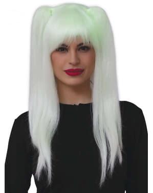 Perruque sorcière fluorescente avec couettes femme