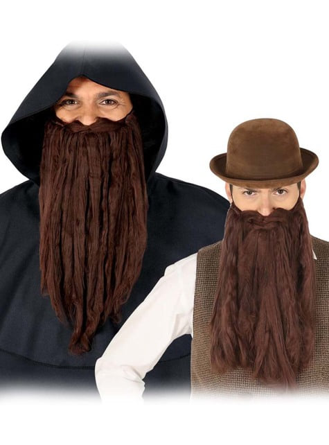 Barba larga marrón para hombre