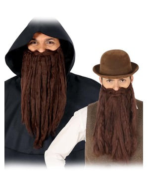 Langer Opa-Bart braun für Herren